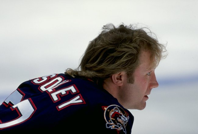 17 Feb 1999:  Marty McSorley #33 of the Edmonton Oilers looks on during the game against the Anaheim Mighty Ducks at the Arrowhead Pond in Anaheim, California. The Oilers defeated the Ducks 6-2. Mandatory Credit: Aubrey Washington  /Allsport