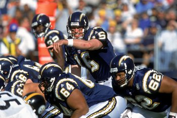 QB Ryan Leaf calling signals at the line