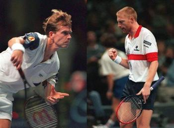 Edberg and Becker played flashy tennis.