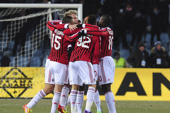 AC Milan celebrates the late goal by Stephan El Shaarawy.