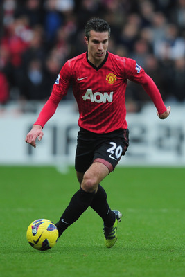 SWANSEA, WALES - DECEMBER 23:  Robin Van Persie of Manchester United in ation during the Barclays Premier League match between Swansea City and Manchester United at the Liberty Stadium on December 23, 2012 in Swansea, Wales.  (Photo by Jamie McDonald/Gett