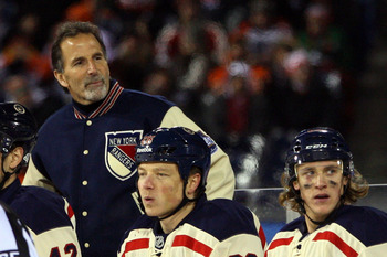 John Tortorella coaching the New York Rangers at the 2012 NHL Winter Classic in Philadelphia, Pennsylvania.