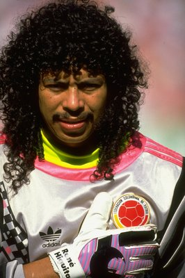 23 Jun 1990:  Portrait of Rene Higuita of Columbia during the World Cup Second Round match against Cameroon at the San Paolo Stadium in Naples, Italy. Cameroon won the match 2-1. \ Mandatory Credit: David Cannon /Allsport
