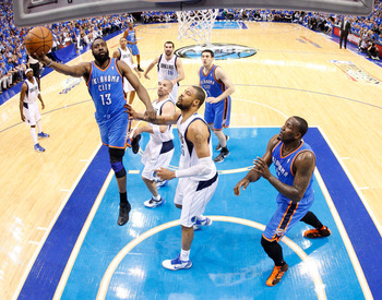 Despite coming off the bench, Harden (left) is a huge piece of the Thunder's puzzle.