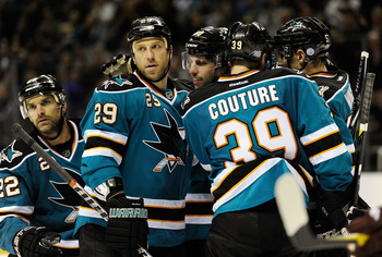 SAN JOSE, CA - OCTOBER 08: Ryane Clowe #29 celebrates scoring a goal with teammates Logan Couture #39, Dan Boyle #22, Jason Demers #60 amd Tommy Wingels #57 against the Phoenix Coyotes in the second period during an NHL hockey game at HP Pavilion at San J