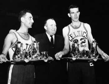 Brown (middle) was the first owner of the Celtics.