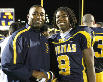 Duron Carter with his father, legendary NFL wideout Cris Carter.