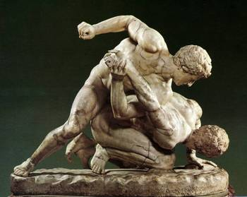 A statue of two men participating in Pankration