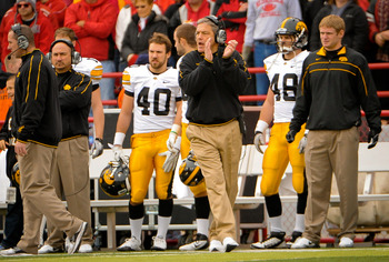 LINCOLN, NE - NOVEMBER 25: Iowa Hawkeyes coach Kirk Ferentz applauds his team's performance early against the Nebraska Cornhuskers during their game at Memorial Stadium November 25, 2011 in Lincoln, Nebraska. Nebraska defeated Iowa 20-7. (Photo by Eric Fr