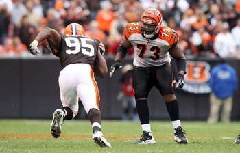 Anthony Collins (73) in a game against the Cleveland Browns in 2009