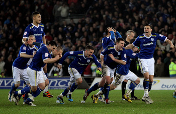 Cardiff celebrate their penalty shootout win in the Carling Cup semifinal