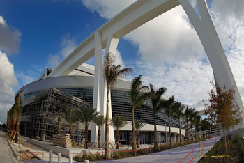 The exterior design of the new Marlins Park, home of the Miami Marlins.