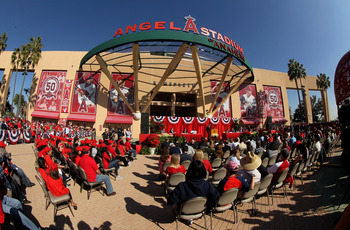 Fans crowd the entrance to Angel Stadium as Albert Pujols and CJ Wilson are introduced as Los Angeles Angels.