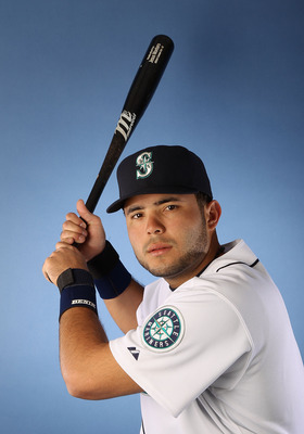 Montero in a Mariners uniform
