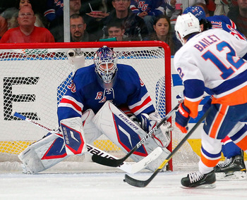 Henrik Lundqvist leads the NHL in save percentage and shutouts.