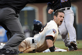 Aaron Rowand expresses shock at having reached a base.