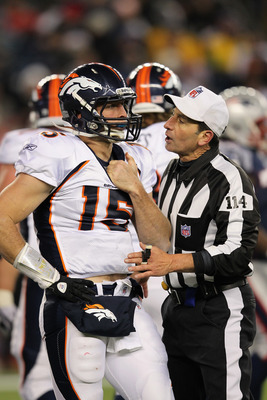 A referee explains the rules of this list to Tim Tebow