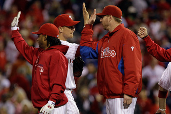 Hunter Pence and Roy Halladay celebrate a victory