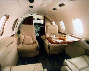 The interior of a learjet. Beats coach.