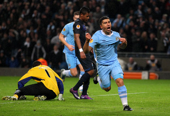 David Pizarro wheels away after completing the scoring for City