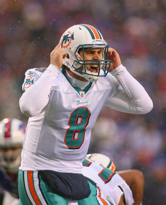 ORCHARD PARK, NY - DECEMBER 18:  Matt Moore #8 of the Miami Dolphins calls signals against the Buffalo Bills at Ralph Wilson Stadium on December 18, 2011 in Orchard Park, New York. Miami won 30-23.  (Photo by Rick Stewart/Getty Images)