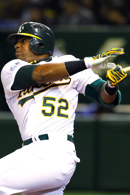 Yoenis Cespedes hit a homer in his second game with the A's.