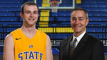 Lone SDSU Senior Griffan Callahan and Coach Scott Nagy.  photo courtesy: gojacks.com