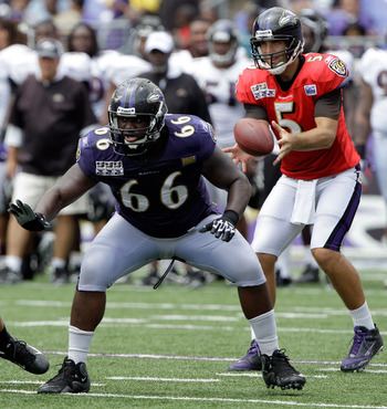 Ravens Left Guard Ben Grubbs and Quarterback Joe Flacco
