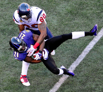 Lardarius Webb intercepts T.J. Yates in the divisional round of the 2011 NFL playoffs.