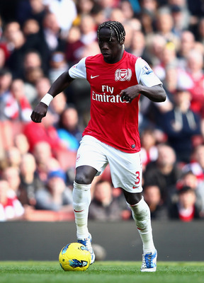 Sagna before scoring Arsenal's first goal