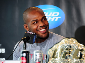 ATLANTA, GA - FEBRUARY 16: Fighter Jon Jones speaks during a press conference promoting UFC 145: Jones v Evans at Philips Arena on February 16, 2012 in Atlanta, Georgia. (Photo by Scott Cunningham/Getty Images)
