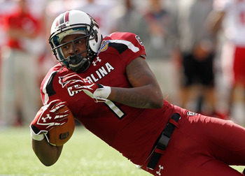South Carolina receiver Alshon Jeffery surprised many skeptics by showing up to the Scouting Combine at a trim 216 lbs.