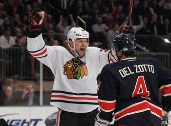 John Scott scoring on the Rangers with Chicago.