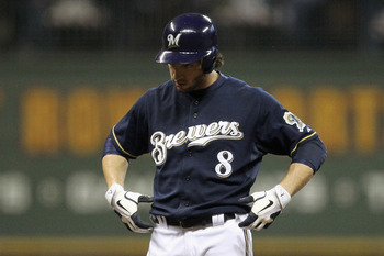 "Ryan Braun doing Aaron Rodgers' ""titlebelt"" celebration."
