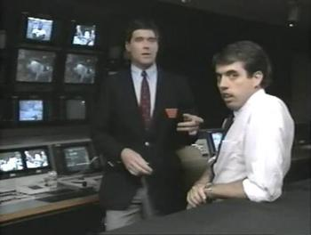 Announcer Sean Mooney (L) with TV producer Kevin Dunn (R) in 1989 (Image via WWE)