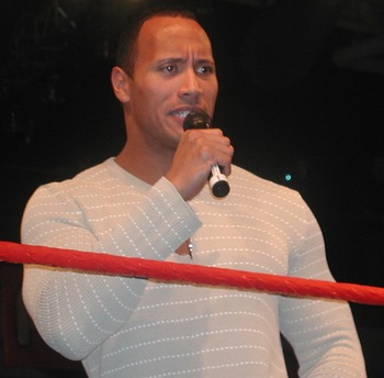 The Rock does his thing (Photo by MShake3 at Wikimedia Commons)