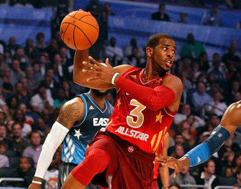 ORLANDO, FL - FEBRUARY 26:  Chris Paul #3 of the Los Angeles Clippers and the Western Conference looks to pass during the 2012 NBA All-Star Game at the Amway Center on February 26, 2012 in Orlando, Florida.  NOTE TO USER: User expressly acknowledges and a