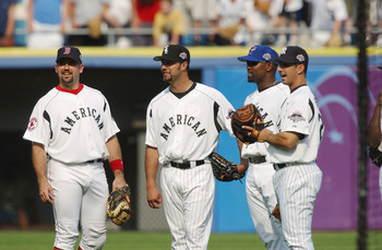 Varitek, a first time All-Star, chats it up with his teammates in 2003