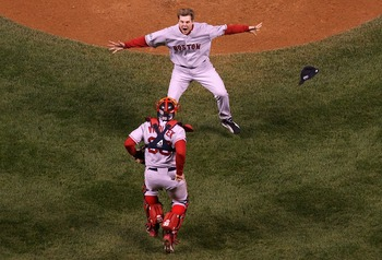 Varitek and Jonathan Papelbon celebrate the final out of the 2007 World Series