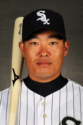 GLENDALE, AZ - MARCH 03:  Kosuke Fukudome #1 of the Chicago White Sox poses during spring training photo day on March 3, 2012 in Glendale, Arizona.  (Photo by Jamie Squire/Getty Images)
