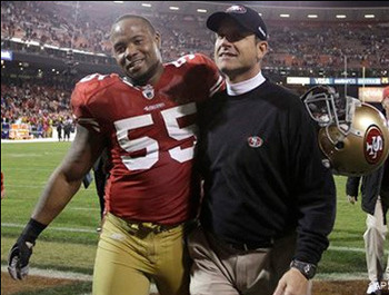 Brooks and Harbaugh: Niner brotherly love for years to come.
