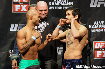 Flyweights Demetrious Johnson and Ian McCall. (Photo credit: MMAjunkie.com)