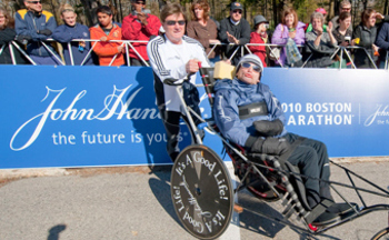 "Dick and Rick Hoyt seen here before their 29th Boston Marathon. When asked if this will be his last, Dick replied, ""We'll continue till Rick says he's had enough."""