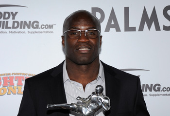 LAS VEGAS, NV - NOVEMBER 30:  Mixed martial artist Cheick Kongo holds the Comeback of the Year award for his win against Pat Barry at the Fighters Only World Mixed Martial Arts Awards 2011 at The Pearl concert theater at the Palms Casino Resort November 3