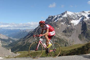 Rein Taarame climbing at the 2011 Tour de France