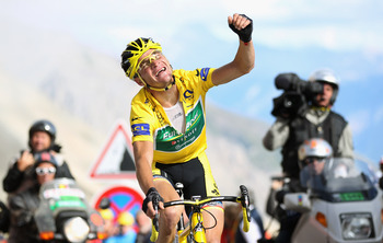 One of Voeckler's many celebrations at the 2011 Tour de France