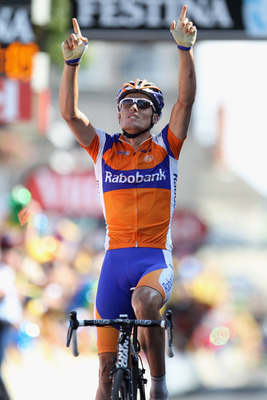 Luis Leon taking his yearly Tour de France stage win in 2011