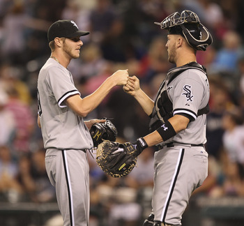 SEATTLE - AUGUST 26:  Closing pitcher Chris Sale #49 of the Chicago White Sox celebrates with catcher Tyler Flowers #17 after defeating the Seattle Mariners 4-2 at Safeco Field on August 26, 2011 in Seattle, Washington. (Photo by Otto Greule Jr/Getty Imag