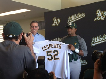 Billy Beane and Cespedes; photo by  Jane Lee of MLB.com