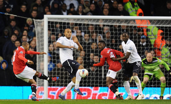 Ashley Young lets loose a scorcher from 20 yards to score Manchester United's third goal in the 3-1 victory over Tottenham Hotspur.